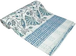 Twin Cotton Kantha Quilt Floral Print Indian Bedspread Blank