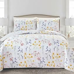 Twin Full Queen King Blue Yellow White Floral Quilt Set Cove