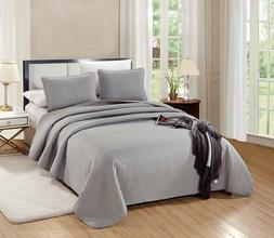 Twin/Twin XL Size Florence Quilt Solid Grey/Gray Microfiber