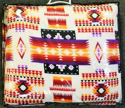 Twin Ultra Plush Flannel Bedspread Blanket Southwestern Whit