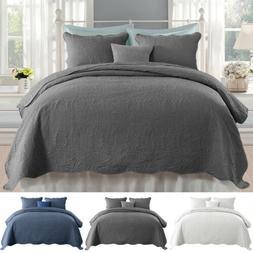 Ultra Soft Quilt & Sham Bedding Set Bedspread Coverlet Embos