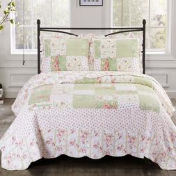Upland Oversize Reversible Printed Quilt Coverlet Floral Pat