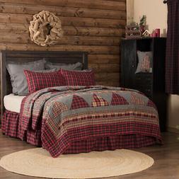VHC Farmhouse Patchwork Quilt Queen Cotton Bedspread Blanket