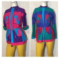 Vintage 80s Multi-Color Jacket Reversible 100% Cotton Medium