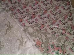 Vintage Shabby Chic Italian Pink Floral Ribbons Sateen Bedsp