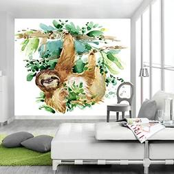 JAWO Watercolor Sloth Tapestry Sloth on Trees Cute Animal fo