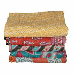 Wholesale Lot Kantha Quilt Handmade Reversible Throw Vintage