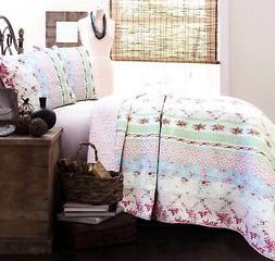 Wild Rose Enchantment Patchwork 100% Cotton Quilt Set, Bedsp
