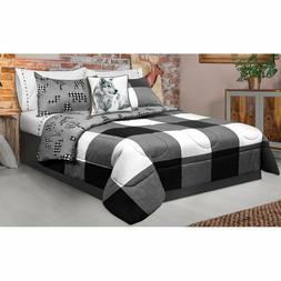 Wildlife Printed Plaid Reversible Comforter Set Black and Wh