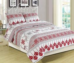 Winter Holiday Quilt Bedding Set Red Grey White Christmas Or