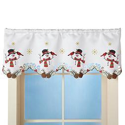 Winter Snowman & Cardinal Window Valance