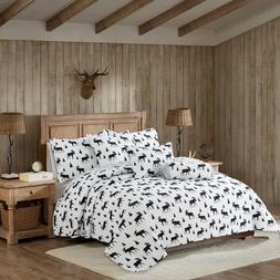 Winterland Deer Lodge White Black Reversible Bedding Quilt S
