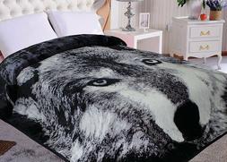 wolf animal mink blanket throw bedspread comforter