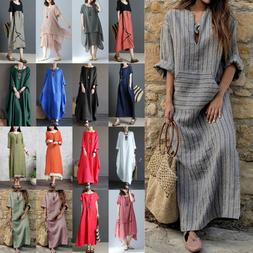 Women's Dresses Cotton Linen Maxi Dress Boho Loose Kaftan Tu