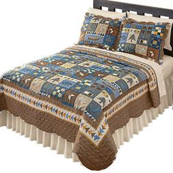 Woodlands Cabin Blue and Brown Patchwork Quilt, Bears, Moose