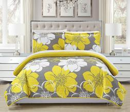 Chic home Woodside Large Floral Twin Sketch Yellow White Gre