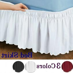 Wrap Around Home Bed Skirt Polyester Elastic Ruffle Bed Skir