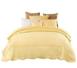 Tache Home Fashion YELLEMDES-King 3 Piece Buttercup Puffs Be