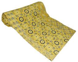 Yellow Ajrakh Print Patchwork Twin Cotton Kantha Quilt Throw